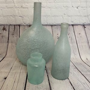 NWT POTTERY BARN green sea glass vase bottles set